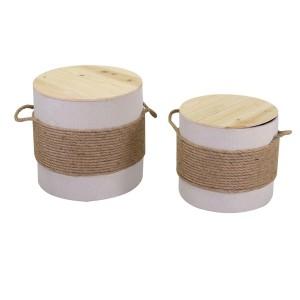 Puff legno 1-2 crema con corda tondo