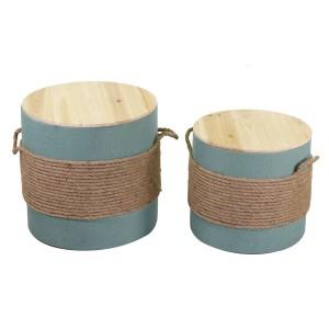 Puff legno 1-2 verde acqua con corda tondo