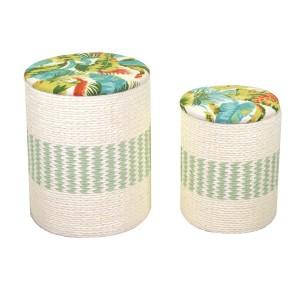 Puff tessuto 1-2 con cuscino verde tondo