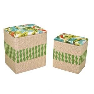 Puff tessuto 1-2 con cuscino verde rettangolare