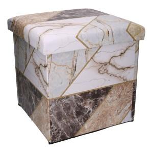 Set 2 Puff ecopelle marmo quadro