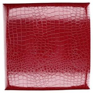 Set 2 Puff ecopelle rosso quadro