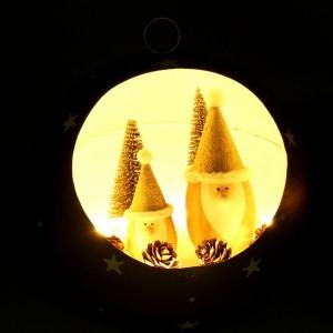 Set 6 palline di Babbo Natale con led