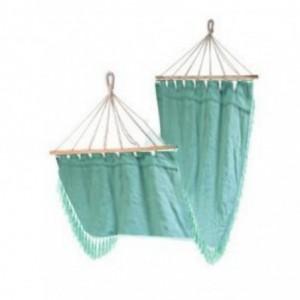 Amaca tessuto con frange verde acqua cm200x100