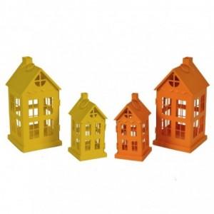 Lanterna metallo gialla e arancione 1-2 casetta 2 ass cm12,5x12,5h25