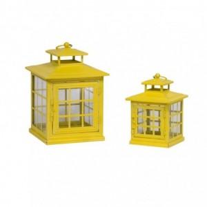 Lanterna metallo 1-2 giallo quadro cm19,5x19,5h28,5