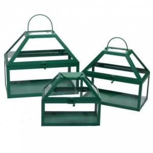 Lanterna metallo 1-3 verde scuro rettangolo cm30,5x18h26,5