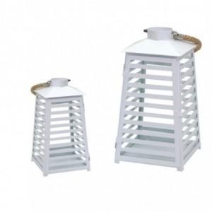 Lanterna metallo 1-2 bianco righe cm18x17,2h33