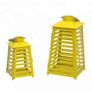 Lanterna metallo 1-2 giallo righe cm18x17,2h33