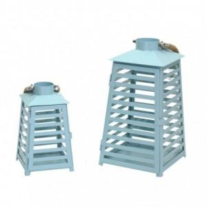 Lanterna metallo 1-2 azzurro righe cm18x17,2h33