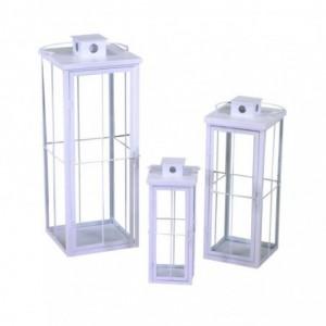 Lanterna metallo 1-3 bianco quadro cm26,5x26,5h75