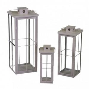 Lanterna metallo 1-3 sabbia quadro cm26,5x26,5h75