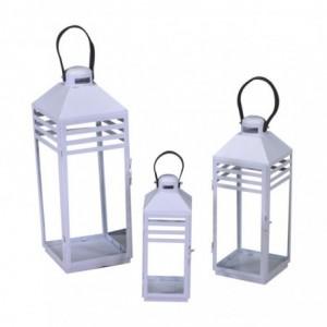 Lanterna metallo 1-3 bianco rettangolare cm22x21,4h58,5/75