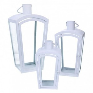 Lanterna metallo 1-3 bianco quadro cm22x22h45