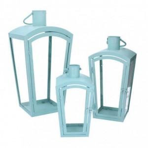 Lanterna metallo 1-3 verde acqua quadro cm22x22h45