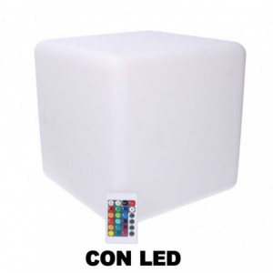 Lampada led plastica ricaricabile multicolor quadro cm30x30h30