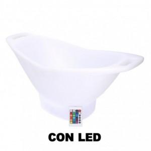 Lampada led plastica ricaricabile con portabottiglie multicolor ovale cm64x30h28