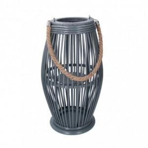 Lanterna legno grigio tondo cmø24/16h60