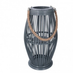 Lanterna legno grigio tondo cmø24/16h33