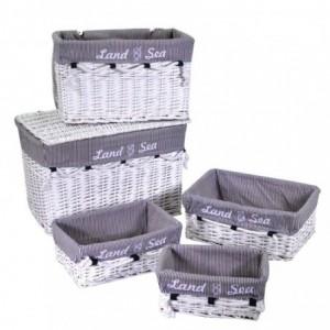 Baule vimini mare 1-2 con 3 cassetti bianco rettangolare cm60x40h40