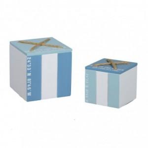 Scatola legno mare 1-2 bianco/azzurro quadro cm15x15h15,5