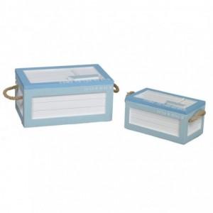 Scatola legno mare 1-2 bianco/azzurro rettangolare cm25,5x15h11,5