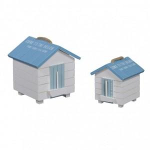 Scatola legno mare 1-2 bianco/azzurro cabina cm16,5x16h18