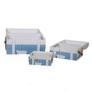 Scatola legno mare 1-3 righe bianco/azzurro rettangolare cm32x20h17,5