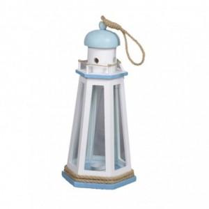 Lanterna mare legno bianco/azzurro farocm21,5x21,5h41,5