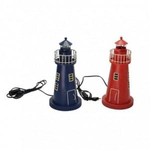 Lampada mare metallo rosso blu faro 2 assortiti cmø15,5h34