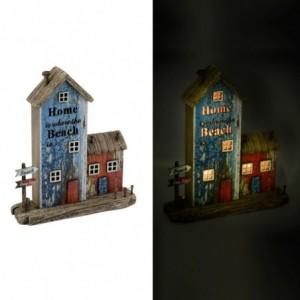 Decorazione mare casa legno blu rosso con led cm25x7h27