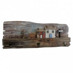 Appendino mare legno 3 posti casette cm30x23x7
