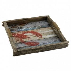 Vassoio mare legno aragosta rettangolare cm33x31h5