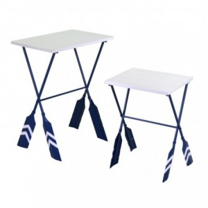 Tavolino metallo mare 1-2 remi blu rettangolare cm56x40h73,5