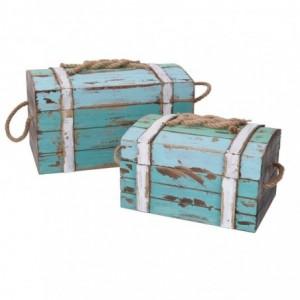 Scatola legno mare 1-2 con corda azzurro rettangolare cm30x18,5h15,5