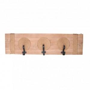 Appendino legno 3 posti corda naturale rettangolare cm87x23x9