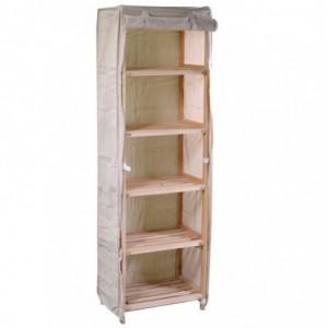 Scaffale legno stoffa vigo 5 piani naturale rettangolare cm42x28h139