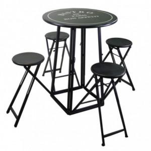 Tavolino metallo con 4 sgabelli nero tondo cmø78h102