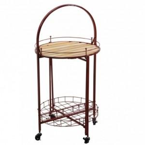 Tavolino metallo con ruote richiudibile rosso tondo cmø49h67/98