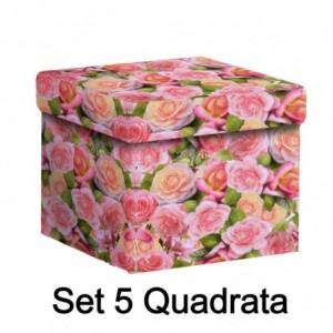 Scatola cartone 1-5 roselline quadra cm27,7x27,7h19,3