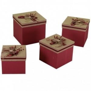 Scatola cartone e stoffa 1-4 con fiocco e bacche quadra cm30x30h28