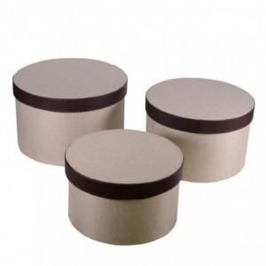 Scatola tessuto 1-3 crema e marrone tondo cmø36h23