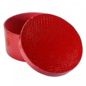 Scatola ecopelle 1-3 rosso tondo cmø38h18