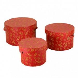 Scatola ecopelle 1-3 rosso con foglie tondo cmø41h25