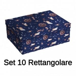 Scatola cartone 1-10 blu barca rettangolare cm43x35h16,5