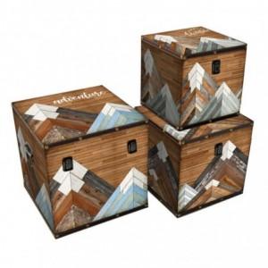 Scatola ecopelle adventures 1-3 quadro cm30,5x30,5h30,5