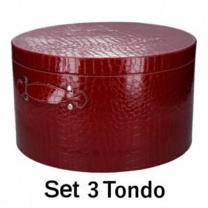 Scatola ecopelle 1-3 rosso tondo cm ø42h24