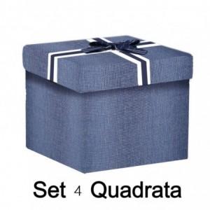 Scatola cartone 1-4 blu quadro cm30x30h28