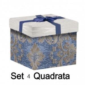 Scatola cartone fiori 1-4 blu quadro cm30x30h28