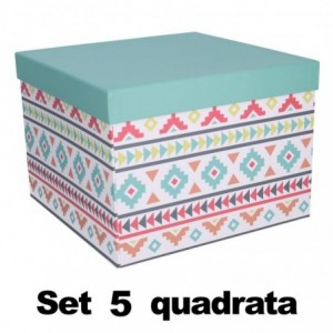 Scatola cartone 1-5 multicolor quadro cm27,7x27,7h19,3